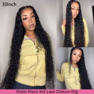 Brazilian Water Wave Wig 13*4 Lace Front Human Hair Wigs Pre Plucked 30inch 4X4 Lace Closure Wig 150% Density Remy Modern Show