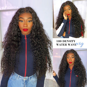 ALI BFF Transparent HD Lace Wig Water Wave Wig Lace Front Human Hair full lace Wigs Pre Plucked Bleached Knots Lace Wig remy Wig