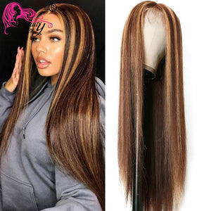 Beauty Forever 13x4 Straight Honey Blonde Ombre Color Highlight 150% Lace Front Human Hair Wigs Remy Brazilian Wigs T4/12