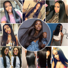 Load image into Gallery viewer, Luxediva Straight Bundles With Closure Brazilian Hair Weave Bundles With Lace Closure Real Human Hair 24 26 28 30 inch Bundles