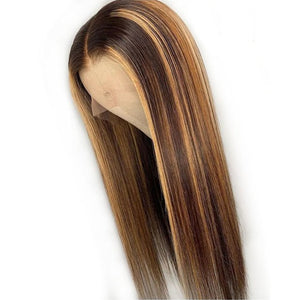 Brown 13x6 Lace Front Wig Straight Honey Blonde Brazilian Remy Highlight Ombre Lace Front Human Hair Wigs For Women Bleach Knots