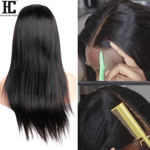 Load image into Gallery viewer, Straight Lace Front Human Hair Wigs Middle Part Brazilian Straight Wig With Baby Hair Remy 13x1 Lace Front Wig Pre Plucked 150%