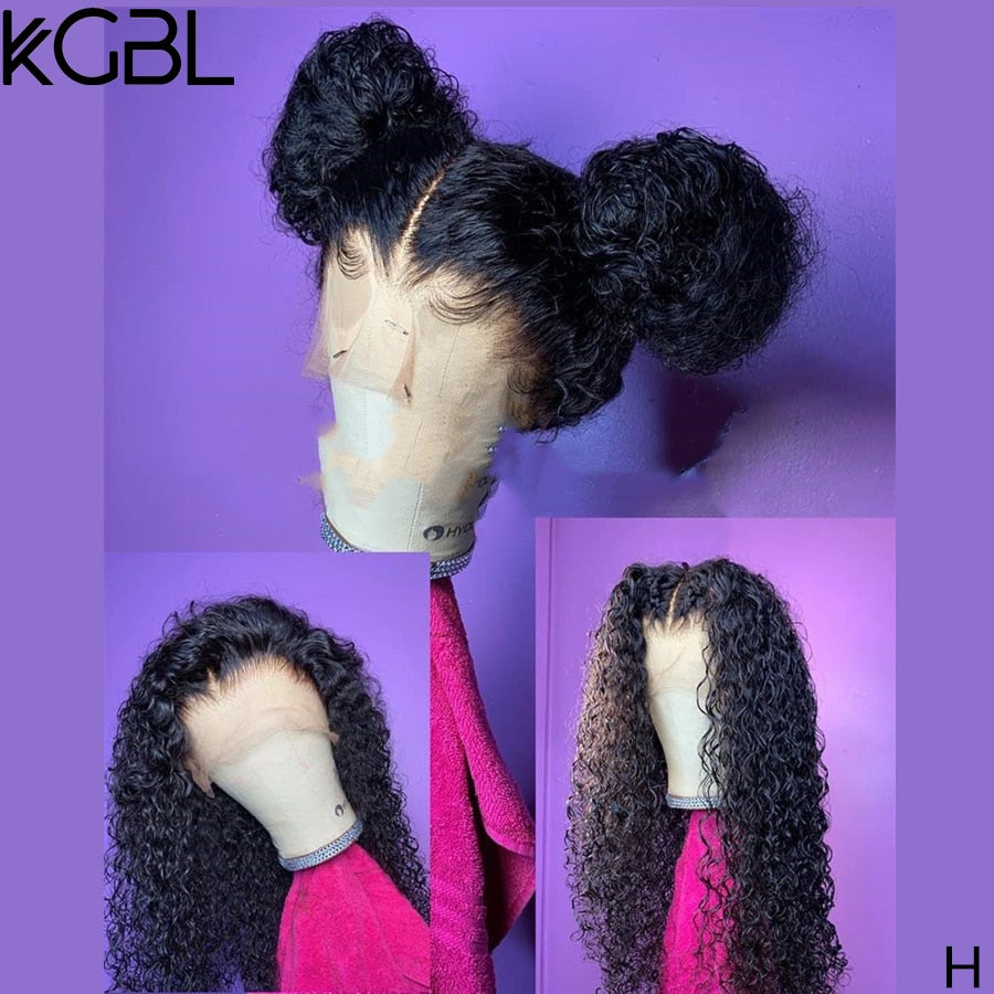 KGBL 360 Curly Natural Color Frontal Wigs For Women Brazilian Pre-Plucked Lace Front Human Hair Wigs Non-Remy Middle Ration 250%