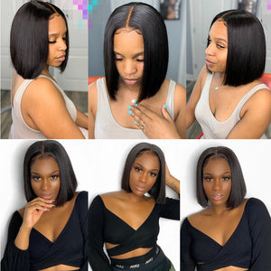 Jaycee 4x4 Short Bob Wigs Lace Closure Wig Straight Human Hair Wigs For Black Women 150% Alipearl Hair Perruque Cheveux Humain