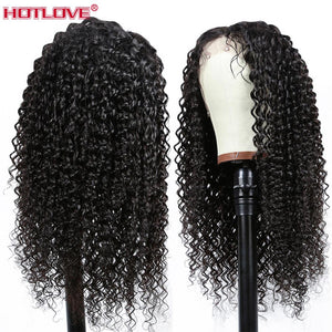 Brazilian Hair Kinky Curly Lace Part Human Hair Wigs 13x1 Lace Front Hair Wigs with Baby Hair Pre Plucked Remy Hair 150% Density