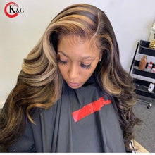 Load image into Gallery viewer, KungGang Highlight 13*4 13*6 Lace Front Human Hair Brazilian  Middle Ratio  Deep Part Lace Wavy  Wigs  130% 150% Density