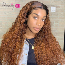 Load image into Gallery viewer, Honey Blonde Ombre Curly Lace Front Human Hair Wigs With Baby Hair 13x6 Orange Brazilian Frontal Closure Wig For Black Women