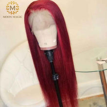 Load image into Gallery viewer, Red Lace Front Human Hair Wigs Red Human Hair Wig 99J 360 Lace Frontal Wig Pre Plucked Full Lace Human Hair Wigs Colored