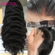 Load image into Gallery viewer, Recool HD Transparent Lace Wig Body Wave Lace Front Human Hair Wigs Pre Plucked Brazilian Lace Frontal Wig 150 180 250 Density