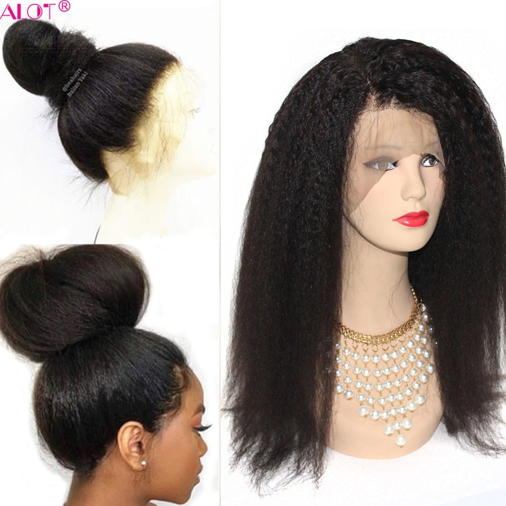 Kinky Straight Lace Front Wig Pre Plucked With Baby Hair 180% Lace Front Brazilian Human Hair Wigs For Black Women Remy Alot