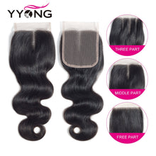 Load image into Gallery viewer, Yyong 3/4 Body Wave Bundles With Closure Brazilian Hair Weave Bundles With Lace Closure 4x4 Remy Human Hair Bundles With Closure
