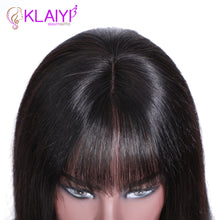Load image into Gallery viewer, Klaiyi Hair Straight Bob Human Hair Wigs With Bang 8-14 inch Pre Plucked Brazilian Remy Hair 13*4 Lace Front Wig 150% Density