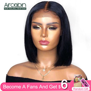 Aircabin Straight Bob 13x6 HD Type T Lace Front Closure Wigs Brazilian Remy Human Hair 8-16 Inch Short Lace Wigs For Women