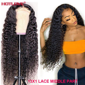 Peruvian Kinky Curly Lace Front Human Hair Wigs 13x1 Lace Frontal Hair Wigs with Baby Hair Pre Plucked Remy Hair Lace Wigs
