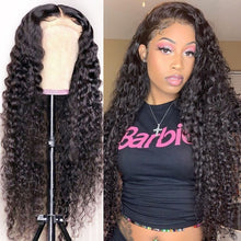 Load image into Gallery viewer, Glueless Lace Front Human Hair Wigs Deep Wave Lace Wig For Women Curly Human Hair Wig Pre Plucked Hairline Brazilian Wig