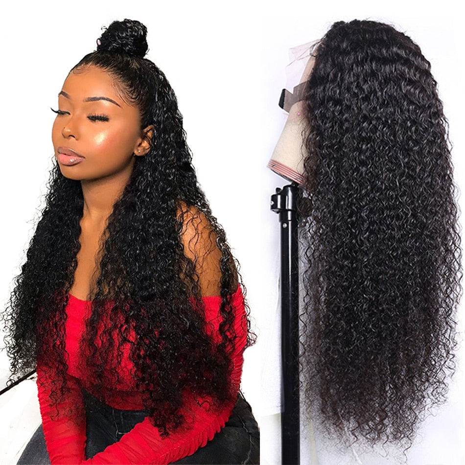 30inch Curly Human Hair Wig Lace Front Wigs Brazilian Kinky Curly Closure Wig 13x4 Lace Human Hair Wigs Perruque Cheveux Humain