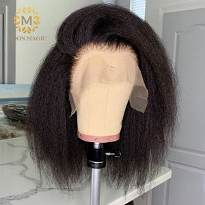 Kinky Straight Wig Bob Lace Front Wigs Short Bob Wig Full Lace Front Human Hair Wigs Preplucked Lace Wig 150% Density