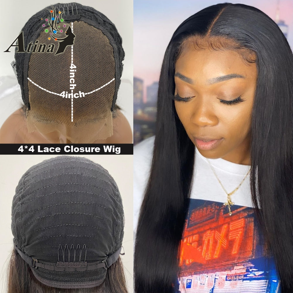13X6 hd Lace Front Human Hair Wig Straight Invisible Transparent Full Lace Wigs Atina Undetectable Frontal Remy 4x4 Closure 150%