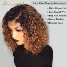 Load image into Gallery viewer, 1B/27 Ombre Color Short Curly 13*4 Lace Front Human Hair Wigs Baby Hair Pre Plucked Remy Brazilian Lace Bob Wigs Bleached Knots