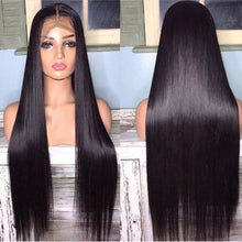 Load image into Gallery viewer, Lace Front Human Hair Wigs Straight Pre Plucked 1B Black 13x4 150% Malaysian Remy Human Hair Wig Lace Frontal Wigs For Women