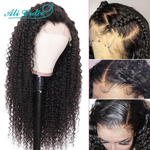 Ali Grace Wigs Brazilian Deep Curly Lace Front Wig Pre Plucked 360 Lace Frontal Wigs Remy Hair Kinky Curly Human Hair Wigs