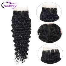 Load image into Gallery viewer, CRANBERRY Hair Deep Wave Human Hair Bundles With Closure 4 pcs/lot Brazilian Hair Weave Bundles With Closure Remy Hair Extension