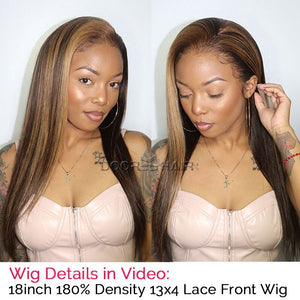Highlight Wig Ombre Human Hair Wigs 13x4 Lace Front Human Hair Wigs For Women Brown Blonde Straight Lace Front Wig 150 180 250%