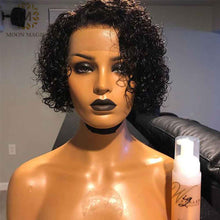 Load image into Gallery viewer, 13x6 Curly Bob Lace Front Wigs 4x4 Lace Closure Wig Short Bob Wig Lace Front Human Hair Wigs Pixie Cut Lace Wig 250 Density