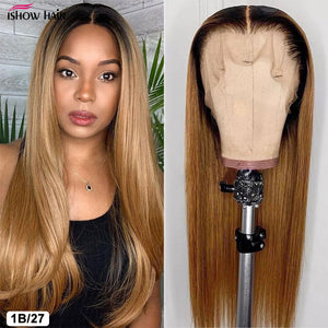 Ishow Highlight Wig Brown Colored Human Hair Wigs 13X4 13X6 Ombre Straight Lace Front Wig Highlight Lace Front Human Hair Wigs