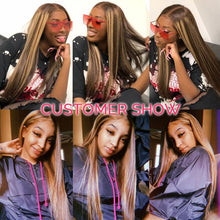 Load image into Gallery viewer, Highlight Wig Ombre Human Hair Wigs 13x4 Lace Front Human Hair Wigs For Women Brown Blonde Straight Lace Front Wig 150 180 250%