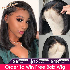Angel Grace Bob Lace Front Wigs With Bangs 13x4 Short Brazilian Straight Human Hair Bob Wigs Pre Plucked Lace Closure Wigs Remy