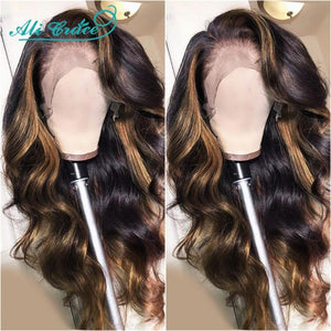 Ali Grace Body Wave Lace Front Human Hair Wigs Omber Wigs HighLight Brown Human Hair Wigs 13x4 Human Hair Lace Wigs for Women