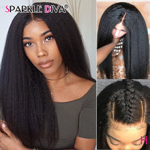 Load image into Gallery viewer, 13x6 Kinky Straight Lace Front Wig Glueless 180% Brazilian Lace Wig Remy Lace Front Human Hair Wigs For Black Women Pre Plucked