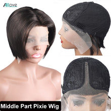 Load image into Gallery viewer, Allove Pixie Cut Wig Straight Hair Wig Machine Wig Natural Color Brazilian Pixie Wig Human Hair Wigs Short Bob Wigs For Women