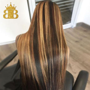 13x4 Straight Honey Blond Ombre Color Highlight 150% Lace Front Human Hair Wigs for Women Remy Brazilian Invisible Medium Ratio