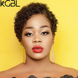 KGBL 13*4 Pixie Curly Lace Front Human Hair Wigs 150% 180% Density With Baby Hair Brazilian Non-Remy Medium Ratio For Women