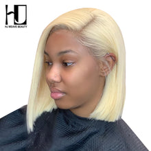 Load image into Gallery viewer, Blonde Lace Front Wig Brazilian 613 Short Bob Lace Front Human Hair Wigs For Black Women Transparent Lace