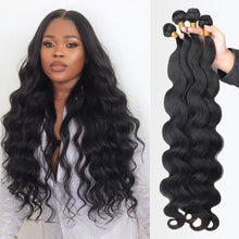 Load image into Gallery viewer, Body Wave bundles human hair Brazilian Natural Black Hair Weave 4 Remy Human hair bundles Deals for Black Women Hair Extensions