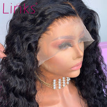 Load image into Gallery viewer, Links Deep Wave Lace Front Wigs 28 30 Inch 360 Lace Frontal Water Curly  Wig Brazilian Remy Human Hair Pre plucked