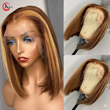 "Load image into Gallery viewer, KungGang 13*6 8""-14"" Stright Bob Wigs  Highlight Lace Front Human Hair  Brazilian Non-Remy Deep Part Lace Wigs 130% 150% density"