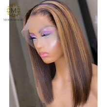 Load image into Gallery viewer, HD Transparent Lace Wig Ombre Human Hair Wigs Pixie Cut Highlight Lace Front Wig Honey Blonde Lace Front Wig  Short Bob Hair