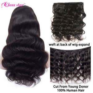 Brazilian Body Wave Wig 4x4 Lace Closure Wig Human Hair Wigs Pre-Plucked with Baby Hair Non-Remy Jazz Star Hair 150% Density