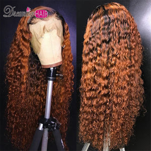 Honey Blonde Ombre Curly Lace Front Human Hair Wigs With Baby Hair 13x6 Orange Brazilian Frontal Closure Wig For Black Women