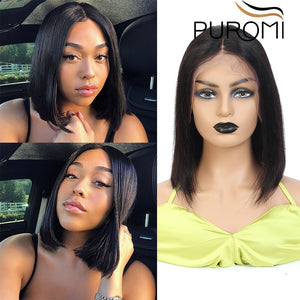 Puromi 13X4 Straight Short Bob Wig Lace Front Human Hair Wigs Brazilian Remy Hair Pre Plucked Natural Color For Black Women