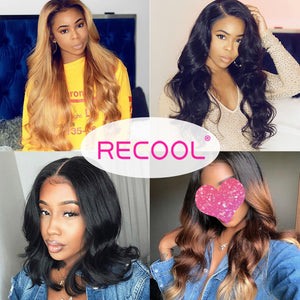 Recool HD Transparent Lace Wig Body Wave Lace Front Human Hair Wigs Pre Plucked Brazilian Lace Frontal Wig 150 180 250 Density