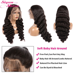30 inch Brazilian Loose Deep Wave Wig Curly 360 Lace Frontal Wig Preplucked Remy 13x6 Lace Front Human Hair Wigs For Black Women