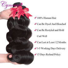 Load image into Gallery viewer, Cynosure HD Transparent Body Wave Human Hair Bundles With Closure Double Weft Remy Brazilian Hair Weave 3 Bundles With Closure