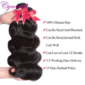Cynosure HD Transparent Body Wave Human Hair Bundles With Closure Double Weft Remy Brazilian Hair Weave 3 Bundles With Closure