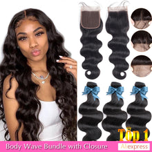 Load image into Gallery viewer, BEAUDIVA Brazilian Hair Body Wave 3 Bundles With Closure Human Hair Bundles With Closure Lace Closure Remy Human Hair Extension
