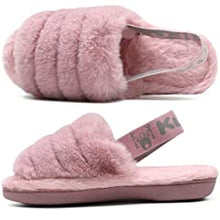 Load image into Gallery viewer, KUAILU Womens Fuzzy Slippers Fluffy Open Toe Slides with Cozy Memory Foam Comfy Plush Slip on Furry Faux Fur Sandals